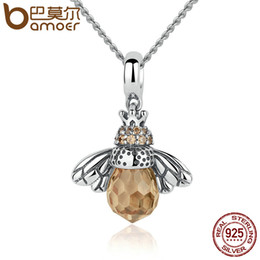 Wholesale Silver 925 Bee - Wholesale- BAMOER 925 Sterling Silver Lovely Orange Bee Animal Pendants Necklace for Women Fine Jewelry CC035