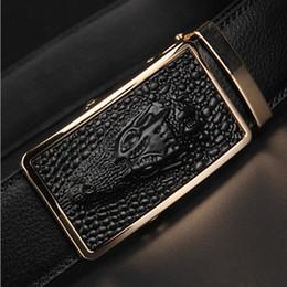 Wholesale Leather Belt Name Brands - HOT!! 2017 Best quality designer brand name fashion Men's Business Waist Belts Automatic buckle Genuine Leather belts For Men 105-125cm