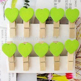 Wholesale Mini Wooden Heart Clips - Wholesale- 10pcs lot New Fashion Cute Special Gift green color Heart Wooden Clip Mini Bag Clip Paper Clip wood pegs