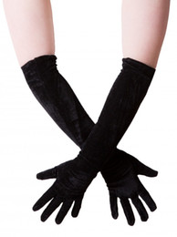 Wholesale Wholesale Nylon Spandex - Velvet gloves elbow length gloves long one size black winter gloves women