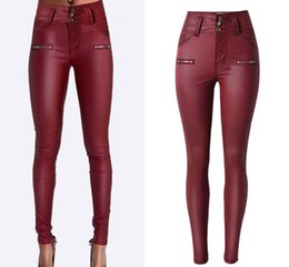 Wholesale Sexy Leather Skinny Jeans - Wholesale- Women High Waist Button PU Leather Skinny Full-Length Pencil Pants Solid Stretch Fashion Style Sexy Butt Push Up Sexy Jeans