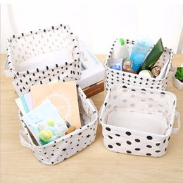 Wholesale Bamboo Baskets - Simplicity White&Black Linen Desk Storage Basket Holder Jewelry Stationery Office Organizer Case Organizer For Cosmetics