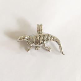 Wholesale Lizard Charms - 18KGP Lizard Lockets, Pearl Gem Bead Cage Pendant Mountings, Dinosaur Pendant Charms