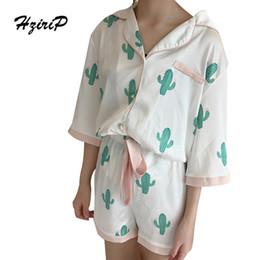 Wholesale fashion pajamas for women - Wholesale- HziriP 2017Summer Pajamas Cactus Women Fashion Sleepwear Two Piece Casual Sets Short Shirt Pants Ladies Set Suit for Home