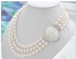 Wholesale gold freshwater pearl necklace - FREE SHIPPING>>New 3row 7-8mm WHITE ROUND FRESHWATER PEARL NECKLACE 0300
