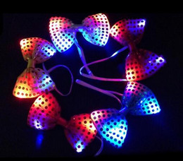 Wholesale Light Up Bow Tie - DHL Freeshipping 200pcs led bow tie kids adult Multicolor Bowknot flashing tie light up toys for party decoration supplies