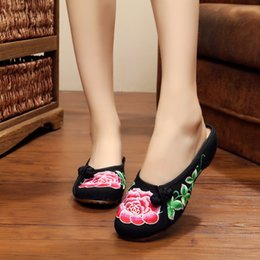 Wholesale Peony Shoes - Wholesale-NEW summer peony embroidery slippers for women fashion beautiful home sexy black simple casual canvas shoes women free shipping