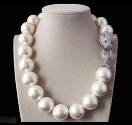 Wholesale rare pearls - Rare 18mm White Shell Pearl Necklace Belt White Leopard Head CZ Clasp