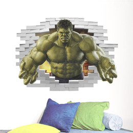 Wholesale Giant Removable Wall Stickers - New 3D Green Giant Split Wall Living Room TV Wall Decorative Removable Wall Sticker Stickers