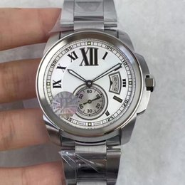 Wholesale Automatic Watch Winding Box - High Quality Automatic cal.1904 Movement Calibre W7100015 Luxury Man Automatic Watch Silver Watertight Stainless aaa watch original box