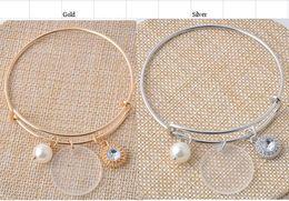 Wholesale Disc Charms - Bulk Wholesale 25mm Clear Acrylic Disc 8mm Pearl Charm Bracelet Sparkling Gemstone Monogram Adjustable Bangle Jewelry