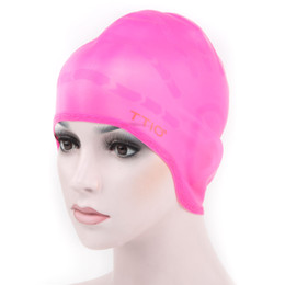 Wholesale TTIO Waterproof Elastic Silicone Adult Swimming Cap Swimwear hat long hair Cover Protect Ear Swim Cap