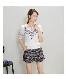 Wholesale Chinese New Fashion Clothing - Chinese style two-piece causal suit printed loose clothes and short pants plus size new fashion trend with free shipping