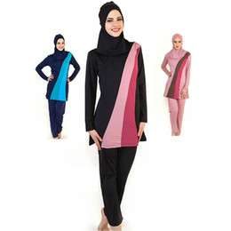 Wholesale Islamic Swimsuit Swimwear - Muslim Swimwear Islamic Swimsuits For Muslima Covered Swimsuits Burkini Long Sleeve Beach Wear Plus Size S-4XL Free Shipping
