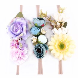 Wholesale Hair Band Girls Plastic - 3pcs set Baby Girl Nylon Headbands Faux Flower Soft Hair Band Kids Floral Crown Hair Accessory Photography props