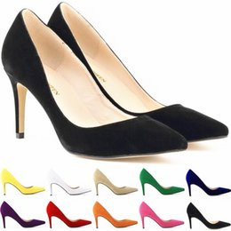 Wholesale Ivory Girl Shoes For Wedding - New Arrival Ladies Pointed High heeled for Woman Lady's Classic Leather Shoes Girls Simple Style Shoe Womens Office shoes Brand Pumps FS012