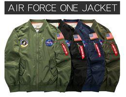 Wholesale Usaf Print - NASA Mens MA1 Bomber Jacket Insignia USAF Kanye West Hip Hop Sport Male Windbreaker Jacket Flag Men Spring Thin section Coats Plus size 6XL