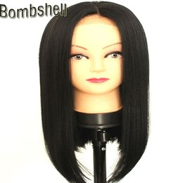Wholesale Black Heat Resistant Bob Wig - Bombshell 10-16 Inch Short Straight Black Bob Synthetic Lace Front Wig Glueless Heat Resistant Middle Parting For Black Women