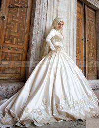 Wholesale Islamic Satin Caps - 2017 Islamic High Neck Long Sleeve Muslim Wedding Dress Hijab Lace Lebanon Satin Arabic Bridal Gowns Court Train Wedding Gowns