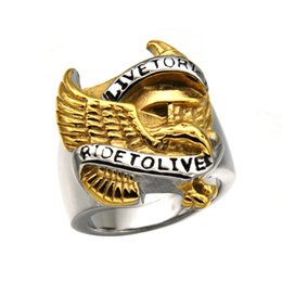 Wholesale 316l S Steel - Hot sale 316L Stainless steel men Biker Rings RIDE TO LIVE Titanium Eagle Gothic Retro Gold BIKER Rings For men s Fashion Jewelry