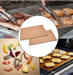 Wholesale Electric Heat Pads - Barbecue Grilling Liner BBQ Copper Grill Mat Portable Non-stick and Reusable 33*40CM 0.2MM Grill and Bake Mat Camping BBQ Pads KKA1848