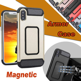 Wholesale Car Tank Cover - 2 in 1 Armor Carbon Fiber Case Magnetic Suction Protection Tank Design Car Holder Shockproof Hybrid TPU+PC Cover For iPhone X 8 7 Plus 6 6S