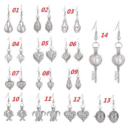 Wholesale Earring Freshwater Pearl - 2017 New Love Wish Pearl Cages Locket Earrings Freshwater Pearls Oyster Pendant Earrings (Excluding Pearl Canned)Hollow Out Dangle Earrings