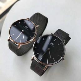 Wholesale Thin Quartz Watches - Daniel Wellington women watches Luxury ladies Quartz watch 32mm dial black stainless steel Mesh strap ultra thin dw watch for women gift