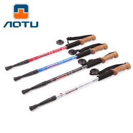Wholesale Wholesale Walking Sticks - AOTU Ultralight 3 section Camping Hiking Walking Sticks Adjustable Canes Trekking Pole Alpenstock with Soft Wooden Handle 064