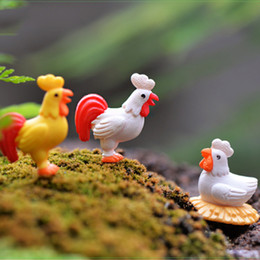 Wholesale Rooster Craft - 10pcs Cartoon Rooster Han Chicken Breed Craft Fairy Garden Miniatures Succulent Gnomes Bonsai Tools terrarium Figurines Home Jardin Gnomes