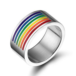 Wholesale Custom Wedding Couple Rings - New Custom Stainless Steel Jewelry Titanium Steel Rainbow Rings for Men and Women 10MM Band Rings Couple Ring