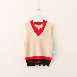 Wholesale Knitted Baby Boy Vest - Baby Boys clothes 2017 Boys and Girls Knit Hallow Out Waistcoats Kids Fashion V-neck vests Boys Autumn Clothes