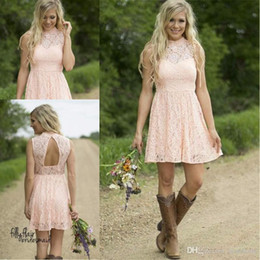 Wholesale Peach Tulle Wedding Dresses - Modest Country Western Full Lace Peach Short Lace Bridesmaid Dresses 2017 dresses A Line High Neck Sleeveless Wedding Party Formal Wear