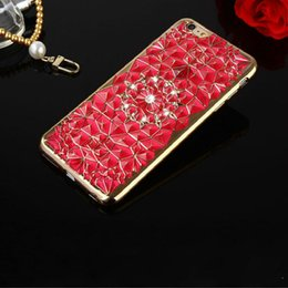 Wholesale Cheap Rhinestones For Cell Phones - Flower Sunflowers Cheap Phone Cases Durian Inlaid diamonds Creative Plating 6 Colors Cell Phone Back Cover