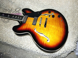 Wholesale Sunburst 335 - Retail Custom Shop Vintage Sunburst F Hole Hollow Body Ebony fingerboard 335 Electric Guitar Guitar Available