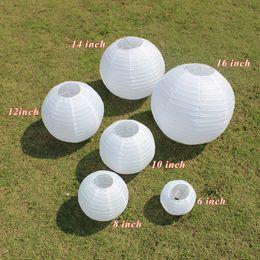 Wholesale Lamp Rice - Hot! 10Pcs 6-8-10-12-14-16 Inch Chinese Tissue Rice Paper Lantern Led Lamp Lampion Ball DIY Pattern Wedding Party Outodor Decor