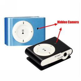 Wholesale Hidden Video Clips - Clip Mini DVR MP3 Music Player Hidden Spy Camera Camcorder Cam Digital Video Audio Recorder Blue Black Free Shipping