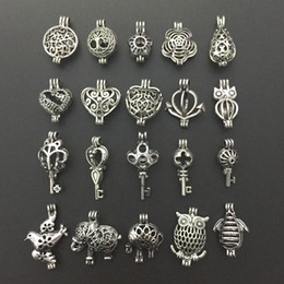 Wholesale Heart Shape Pearl Beads - 20pcs Antique Silver Small Pearl Beads Cage Pendant Locket Heart Owl Animal Shape Essential Oil Diffuser Jewelry Necklace Making