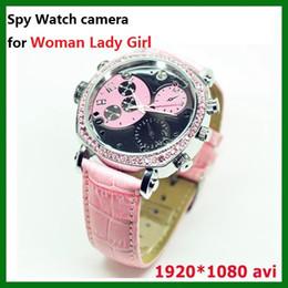 Wholesale Spy Watches 32gb Motion Detection - Woman Lady Girl Watch spy camera 32GB Full HD 1080P night vision motion Detection Wrist Watch hidden pinhole camera mini DV DVR Pink