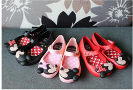 Wholesale Toddler Leather Sandals Buckle - Kids Girl Mickey Minnie Sandals Toddler Baby Kids Beach Footwear Candy Smell Mini Melissa Shoes 3 Color Retail
