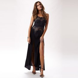 Wholesale Crocheted Maxi Skirt - European Style Lace Crochet dress sexy slim cut split skirt dress