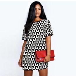 Wholesale Round Neck Short Sleeve Dress - Europe and The United States Women's Clothing Printing Black and White Plaid Round Collar Short Sleeve Chiffon Dress