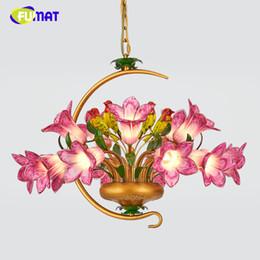 Wholesale Modern Floral Pendant Light - FUMAT Metal Pendant Light European Dining Room Bed Room Pastoral Floral Art Lamps Modern Brief Creative Living Room Pendant