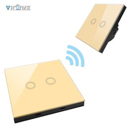 Wholesale Wireless Remote Wall Light Switch - Wholesale- Smart Home wireless 433mhz Smart Swtich shape Remote Control+ 220V Glass Panel wall light switch Golden For Home Automation