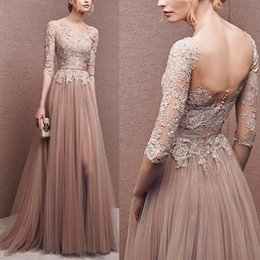 Wholesale Red Long Dresses Affordable - Vintage Floral Lace Long Evening Dress Charming Affordable Long Prom Dresses Illusion Tulle Long Sleeves Pleated Formal Party Dress Cheap