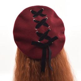 Wholesale Girls Fashion Berets - 1pc Girls Winter Cute Lolita Beret Headwear Vintage Velvet Lace-up Painting Hat Cap Black Blue Burgundy Pink