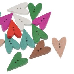 Wholesale Sweater Pack - Kimter Mixed Heart Wooden Sewing Buttons With 2 Holes 23.5x15mm For Knitted Caps Cardigans And Sweaters Crafts Pack Of 100pcs I567L
