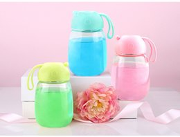 Wholesale Wholesale Candy Cups - Water Bottle Pink Lovely Glass Cup Mug Drinking Sports Water Candy Color Bottle with Silicone Sleeve Cover Handle