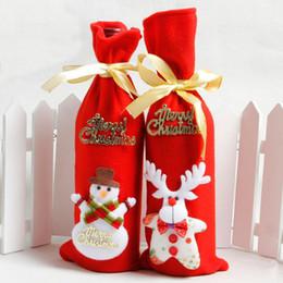 2019 niños guantes amarillos Decoración de navidad Botella de vino Titular de la bolsa Cubierta de la botella de vino de navidad Ciervos de dibujos animados Muñecos de nieve con la cinta Festival Decoración Accesorios