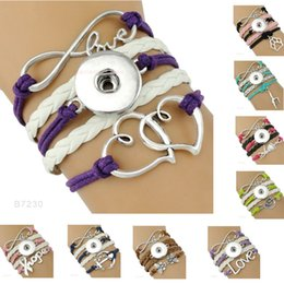 Wholesale Wholesale Dance Bracelets - (10 Pieces Lot)Infinity Love Snap Heart To Heart Dance Music Anchor Hope Charm Leather Wrap Bracelets For Women Men Gifts Jewelry